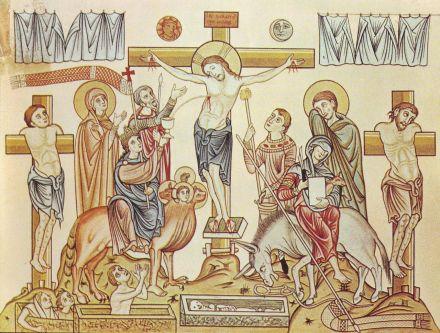 Crucifixion - Hortus_Deliciarum,_Die_Kreuzigung_Jesu_Christi
