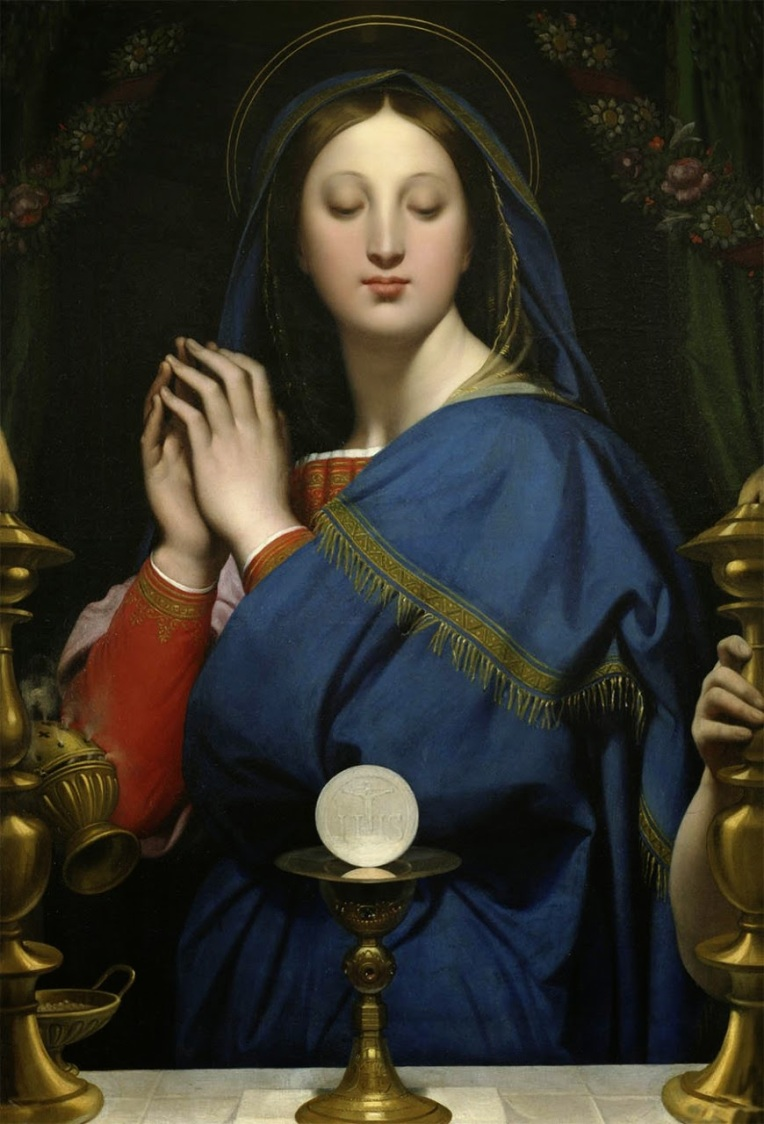 Mary adoring Eucharist