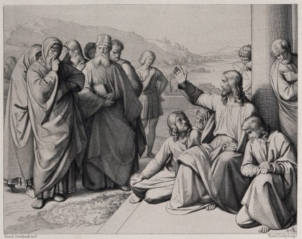 V0034553 Christ curses the Pharisees. Etching by F.A. Ludy after J.F.