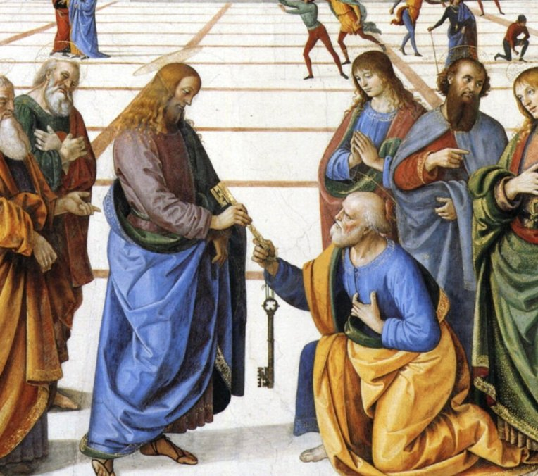 Perugino_Christ_handing_keyes_to_st_peter detail
