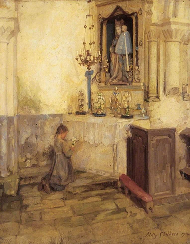 Childers, Milly, 1866-1922; Girl Praying in Church